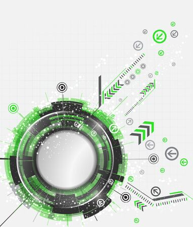 green technology: Abstract green technology background with modern digital elements. Vector illustration.
