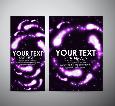 flare up: Abstract purple digital flare frame. Brochure business design template or roll up.