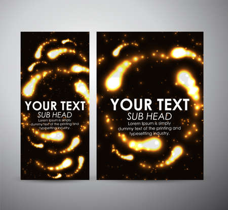 flare up: Abstract gold digital flare frame. Brochure business design template or roll up. Illustration