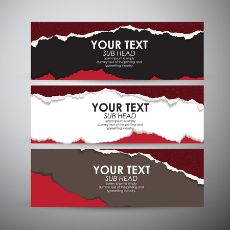 Abstract Torn Paper with space background. Vector banners set background. Illustration