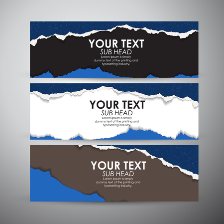 deterioration: Abstract Torn Paper with space background. Vector banners set background. Illustration