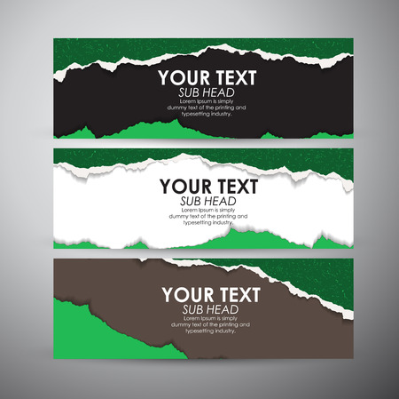 puncture: Abstract Torn Paper with space background. Vector banners set background. Illustration
