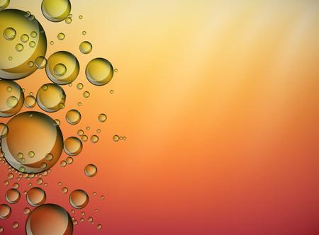 Zusammenfassung gelben Blasen auf glänzenden Hintergrund steigen. Olivenöl Vektor Hintergrund.