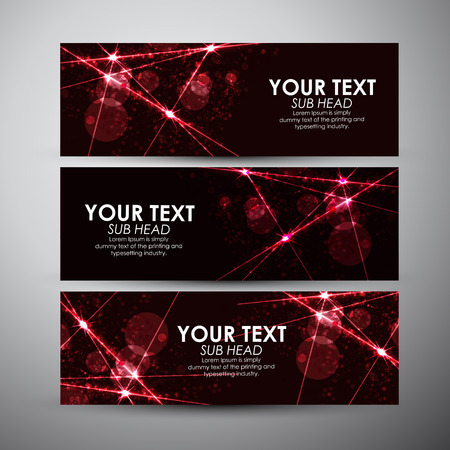 Abstract background with red sparkling lights effect vector banner set.