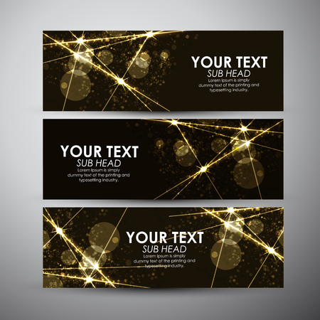 Abstract background with gold sparkling lights effect vector banner set.