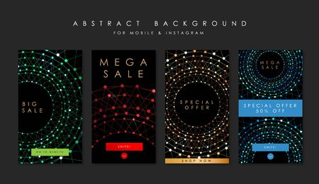 Sale technology  stories template and mobile template. Abstract background.