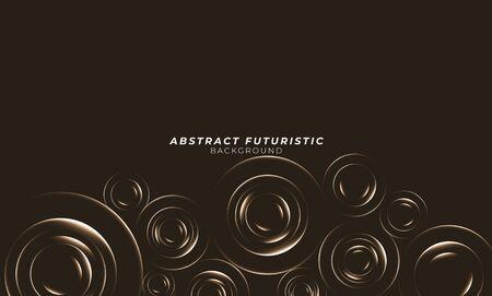 Graphic gold circles seamless pattern. Abstract futuristic art wallpaper. Vector illustration. Illusztráció