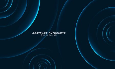 Graphic blue circles seamless pattern. Abstract futuristic art wallpaper. Vector illustration.