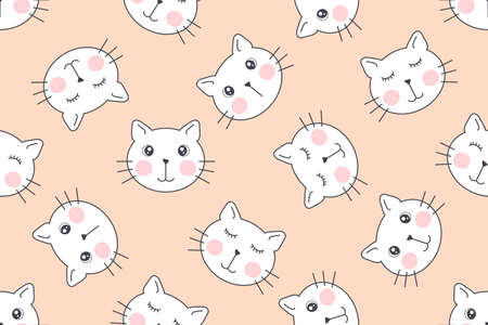 Cute cats vector seamless pattern for printing, phone cases, fabric or web design.