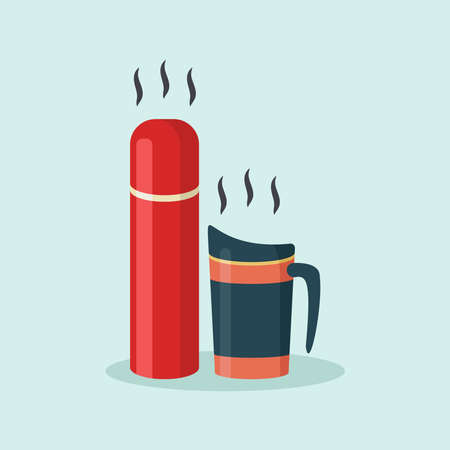Flat vector reusable tumbler mug and bottle for hot drinks illustration.