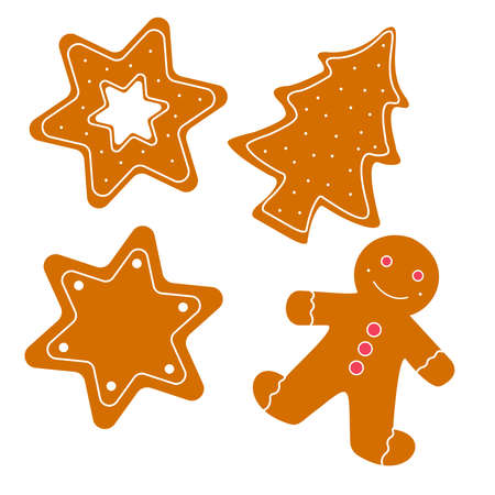 Christmas gingerbread cookies decorated colored icing for new year day, christmas party, winter holiday, sweet homemade gift for kids.