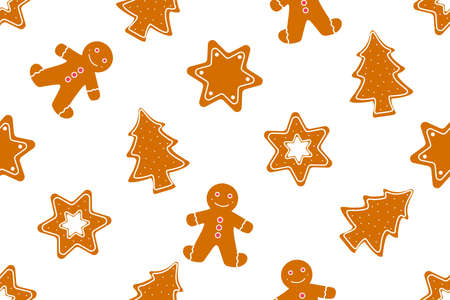 Seamless pattern Christmas gingerbread cookies decorated colored icing for new year day, Christmas party, winter holiday, sweet homemade gift for kids.