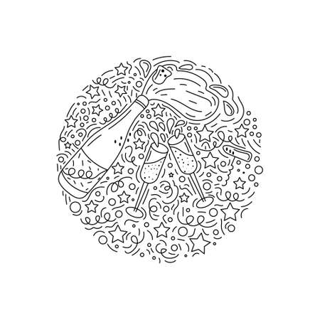 Black and white hand drawn illustration with cheers elements made in doodle style. Round concept vector drawing.