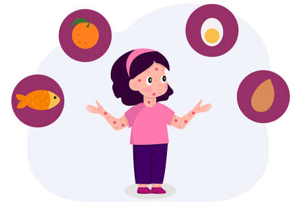 Cute cartoon girl with red pimples thinking about food allergies: fish, citrus, eggs, nuts. Food intolerance and children food allergy concept vector illustration.