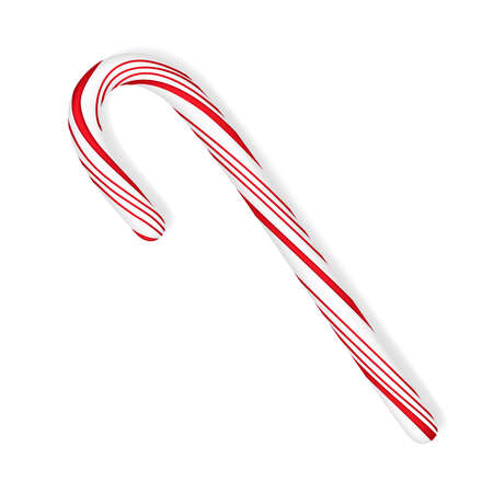 Realistic 3d peppermint candy cane stick in traditional colors isolated on white background vector illustration. Иллюстрация