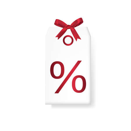 Realistic 3d discount coupon with red bow isolated on white vector illustration.