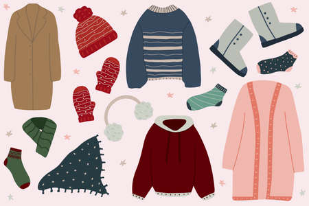 Collection of winter clothes and outerwear: earmuffs, sweater, coat, cardigan, mittens, hat, boots, scarf, sweatshirt. Hand drawn vector illustration. Illusztráció