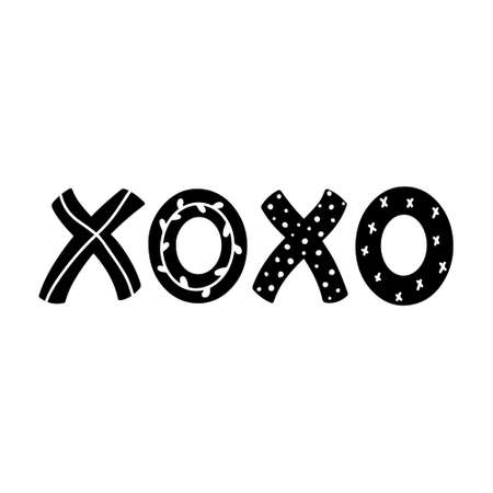 Xoxo quote hand drawn lettering with abstract decorations vector illustration. Handwritten inked phrase isolated on white background.