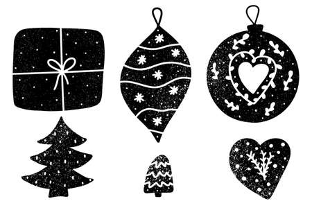 Christmas monochromatic decorations with snow texture doodle style vector illustration. Wrapped gift, star, Christmas tree, baubles and heart shaped decorations. Vektorové ilustrace