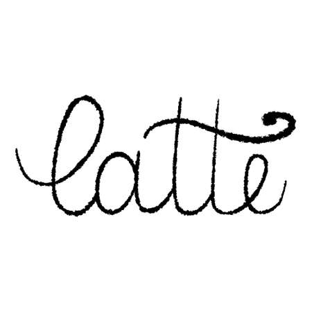 Latte grungy texture brush calligraphy isolated on white background vector illustration. Handwritten lettering design element. Ilustração