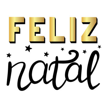 Portuguese Merry Christmas - Feliz Natal. Hand drawn lettering with golden elements and stars isolated on white background. 向量圖像