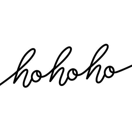 Ho Ho Ho modern monoline brush bounce calligraphy ink in black isolated on white background trendy lettering vector illustration for design. 向量圖像