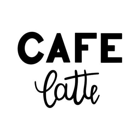 Cafe latte hand drawn lettering isolated on white background. Script bounce calligraphy lettering.