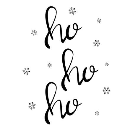 Ho Ho Ho modern brush bounce calligraphy ink in black isolated on white background with ink snowflakes trendy lettering vector illustration. 向量圖像