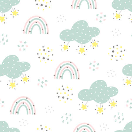 Scandinavian style seamless pattern with clouds, rain drops, stars and abstract elements. Pastel colors hand drawn cute childish seamless pattern for nursery, baby textile or print.