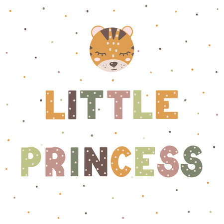 Little Princess cute nursery print with cute cartoon animal. Hand drawn lettering in Scandinavian style.