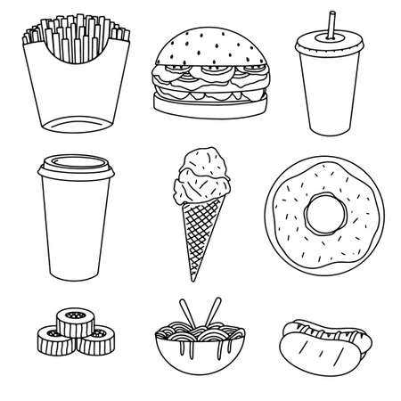 Fast food related hand drawn doodles: fries, burger, drink, coffee, ice-cream, donut, sushi, noodles and hot-dog isolated on white background vector illustration. 矢量图像