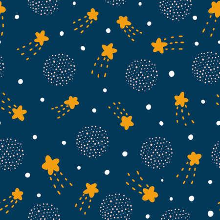 Starlight night seamless pattern in Scandinavian style vector illustration for print, design or nursery. Childish hand drawn design.