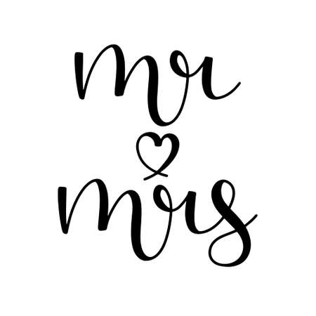 Mr and mrs hand drawn lettering ink in black with a heart shape isolated on white background. Script calligraphy vector illustration.