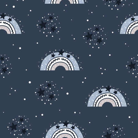 Cute nursery seamless pattern in Scandinavian style with rainbow, stars and abstract dots. Nordic childish patter vector illustration. Ilustração