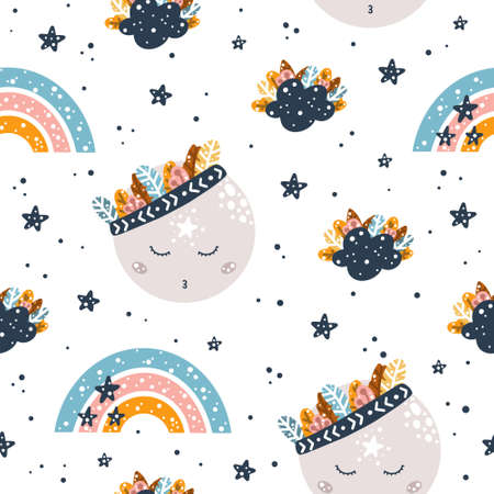 Cute childish bohemian seamless pattern with sky elements: moon, rainbow and stars in Scandinavian style isolated on white background hand drawn vector illustration. 向量圖像
