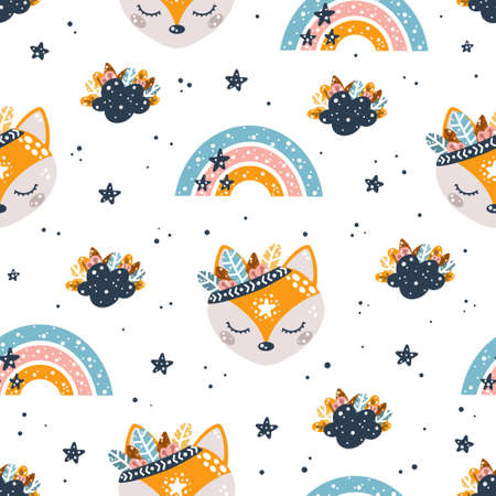Cute bohemian childish seamless pattern with foxes, rainbows, clouds, stars and feathers in Scandinavian style vector illustration for design or print.