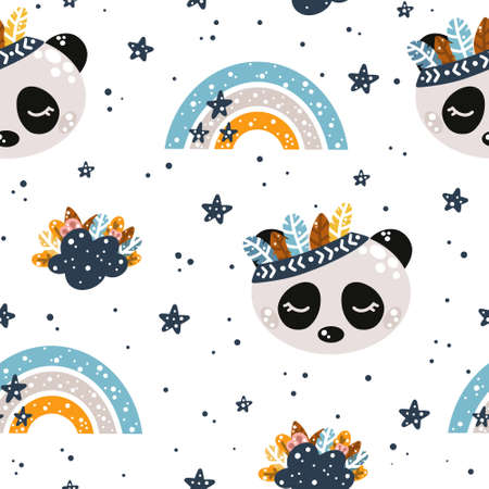 Cute nursery seamless pattern in Scandinavian style with bohemian elements: panda, rainbow, feathers, clouds and stars vector illustration for cute designs and prints.