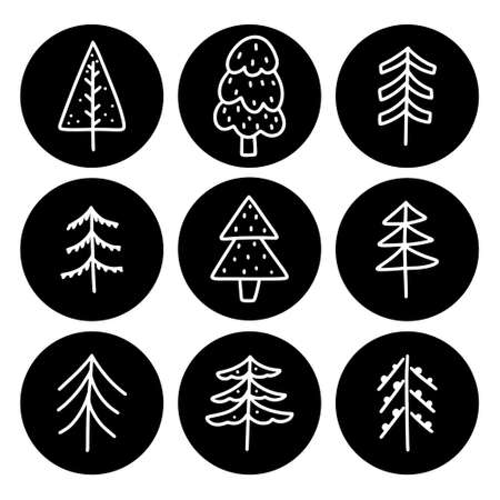 Cute Christmas tree hand drawn monochrome doodles in Scandinavian style. Circle icon for label, print, design. 向量圖像