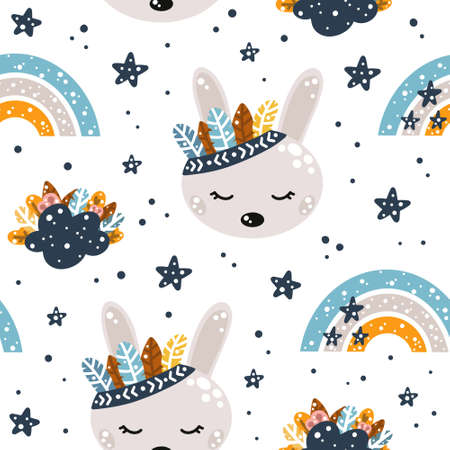 Cute seamless pattern with rainbow, bunny, clouds, feathers and stars in Scandinavian style isolated ob white background vector illustration.