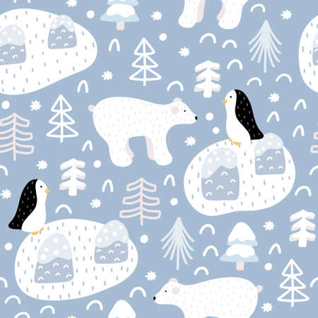 Cute winter seamless pattern with polar bear, Christmas tree, penguin doodles with abstract elements around in Scandinavian style vector illustration.