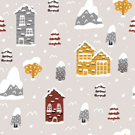 Cozy and warm seamless pattern with winter atmosphere: snowy houses and trees. Doodles in Scandinavian style vector illustration. 向量圖像