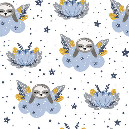 Cute nursery seamless pattern with sleeping sloth on a cloud with floral elements in Scandinavian style isolated on white background vector illustration for print and design.