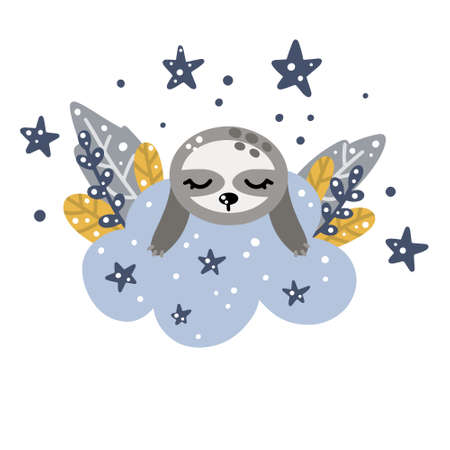 Cute nursery sloth sleeping on a cloud with stars and floral elements around Scandinavian style vector illustration isolated on white background for design or print.
