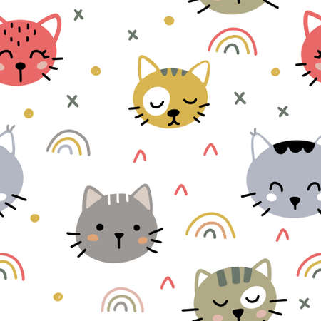 Cute seamless pattern with funny kittens and rainbows in Scandinavian style isolated on white background vector illustration. Hand drawn cute colorful print with abstract elements. 向量圖像