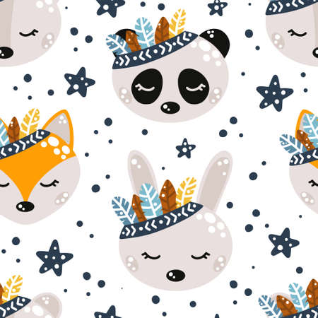 Cute nursery seamless pattern with boho style animals hand drawn in Scandinavian style isolated on white background with stars and abstract dots around vector illustration for print or design.