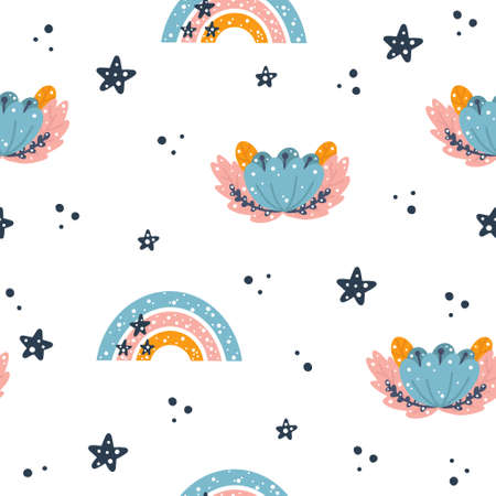 Cute spring nursery seamless pattern with boho rainbow and floral elements hand drawn in Scandinavian style isolated on white background vector illustration for print or design.