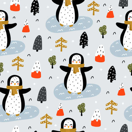Cute seamless pattern in Scandinavian style with penguin with a scarf, mountains, Christmas tree, snow, ice and forest elements in winter colors hand drawn vector illustration. 向量圖像
