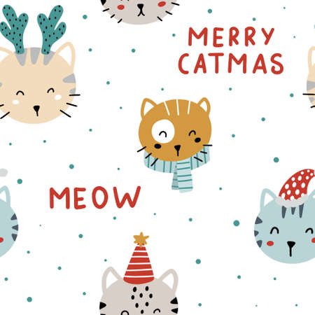 Cute Christmas seamless pattern with cute hand drawn colorful cats and lettering. Merry catmas vector illustration.