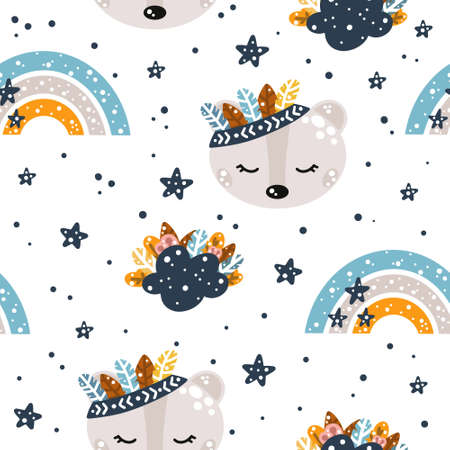Cute nursery seamless pattern in boho style with bear, clouds, rainbows and feathers with floral elements isolated on white background Scandinavian style vector illustration. 向量圖像