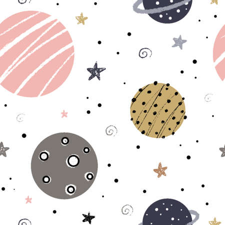Cute nursery seamless pattern with space elements: galaxy, planets and stars hand drawn in Scandinavian style with grunge brush texture vector illustration. 向量圖像